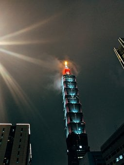 Skyscraper, Taipei, Night, Illuminated, Fog, Sky