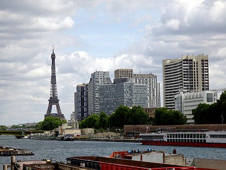 Paris, France, Seine River, Eiffel Tower, Barges