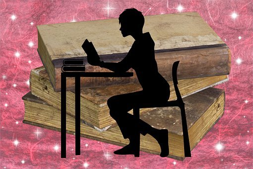 Woman, Silhouette, Reading, Books, Study, Education