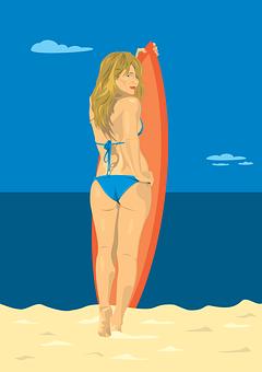 Woman, Bikini, Beach, Sky, Blond, Sand, Sea, Summer