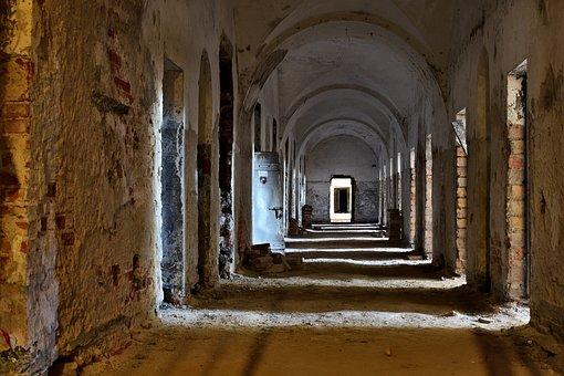 Building, Corridor, Door, Windows, Ruins, Interior