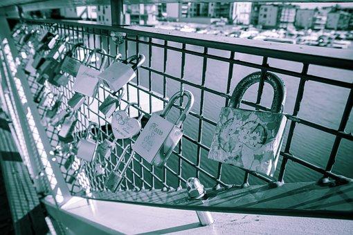 Lock, Bridge, Fence, Metal, Padlock, Symbol, Loyalty