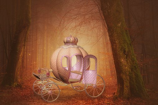 Pumpkin, Crown, Carriage, Sunset, Fairy Tale, Forest