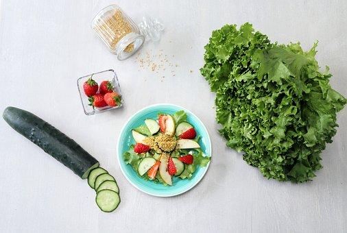 Food, Healthy, Cucumber, Strawberry, Lettuce, Salad