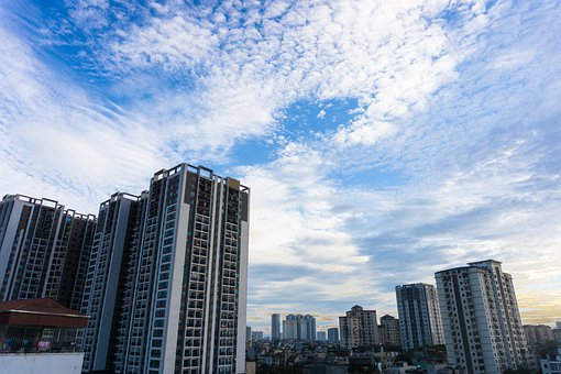 Apartment, Residential, Tall Buildings, Sky, Cloudy