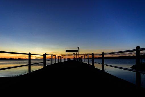 Twilight, Jetty, Sunset, Evening, Sky, Italy