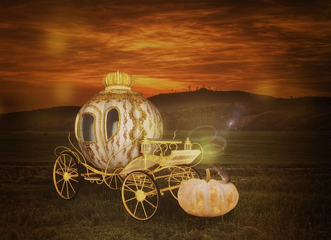 Pumpkin, Crown, Carriage, Sunset, Fairy Tale