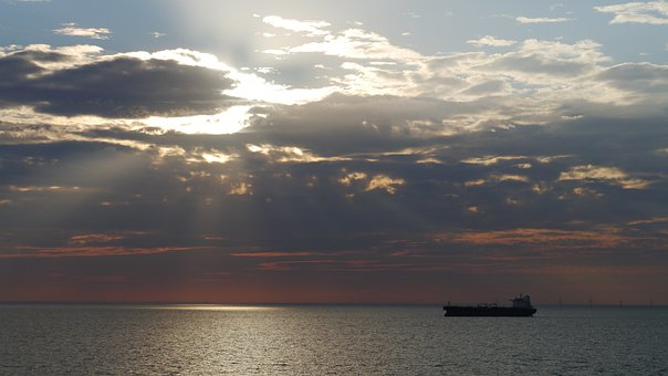 Sea, Sunset, Tanker, Boat, Lake