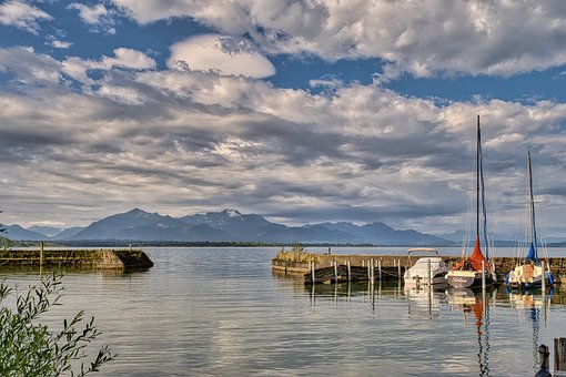 Harbour, Entrance, Boats, Lake, Chiemsee, Mountains