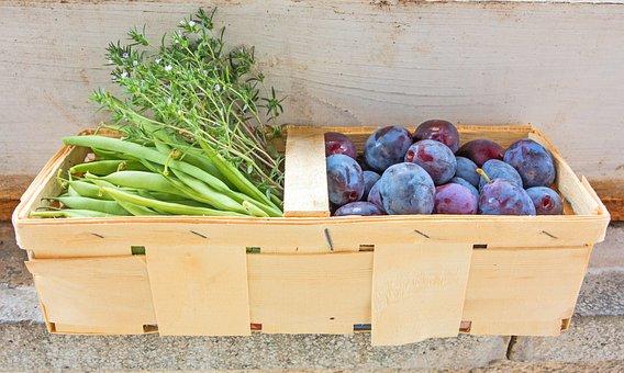 Fruit Basket, Fruit And Vegetables, Plums, Beans