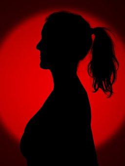Woman, Silhouette, Tuft Of Hair, Red, Girl, Dark