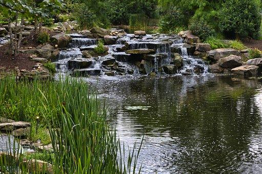 Lake, Water, Waterfall, Rocks, Tennessee, Pigeon Forge