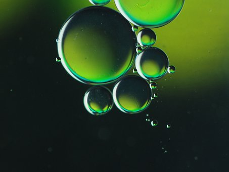 Oil, Green, Water, Macro
