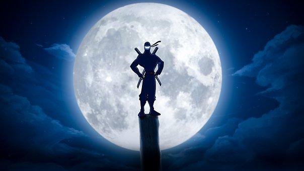 Character, Warrior, Cartoon, Ninja, Moon, Clouds, Sky