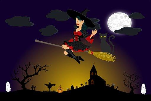 Halloween, Witch, Ghost, Cat, Pumpkin, Horror, Fantasy