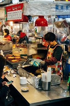 Women, Market Hall, Cook, Market, Sale, Pancake, Asia