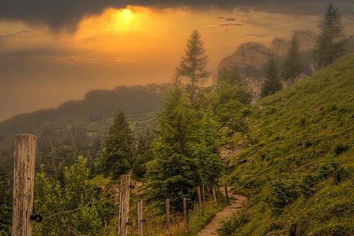 Mountains, Alpine, Trail, Hike, Haze, Sunshine