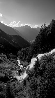 Waterfall, Water, Sky, Clouds, Nature, Trees, Landscape