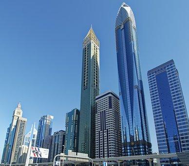 U A E, Dubai, Sheikh Zayed Road, City, Skyscrapers