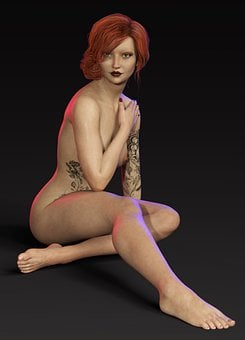 Woman, Model, Naked, Sitting, Body, Tattoo, Young