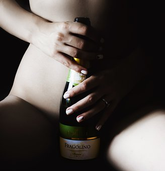 Woman, Body, Bottle, Wine, Alcohol, Young, Glass, Model