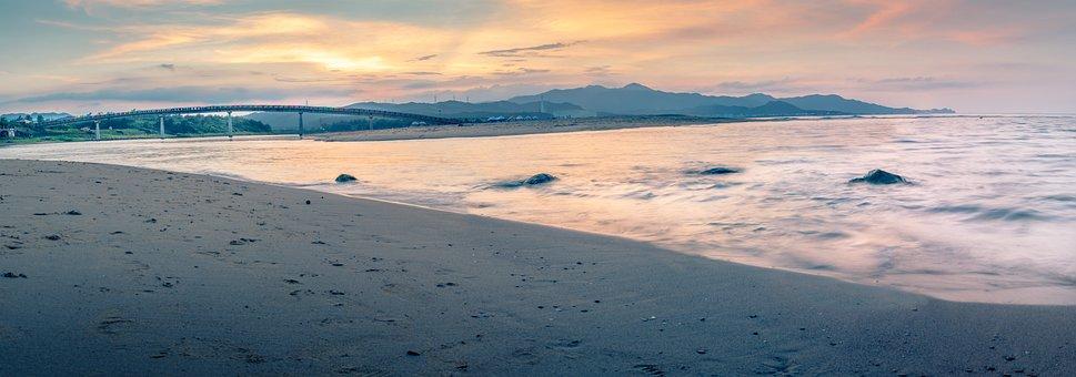 Beach, Ocean, Sea, Waves, Bridge, Coast, Sand, Shore