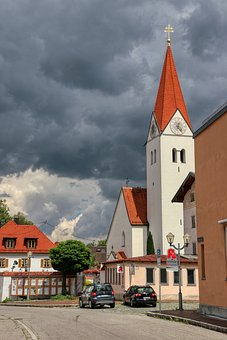 Church, Tower, Village, Pointed, Clouds, Sky, Bavaria
