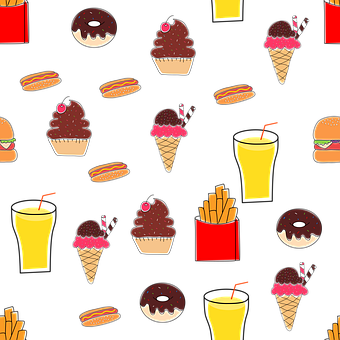 Fries, Ice Cream, Donut, Chocolate, Dessert, Snack