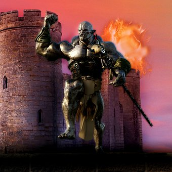 Ork, Character, Flames, Ruins, Castle, Fantasy, Fire