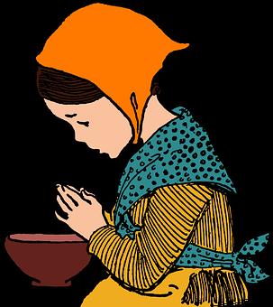 Girl, Prayer, Meal, Plate, Drawing, Grace, Gratitude