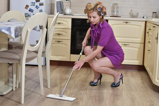 Cleaning, Housewife, Mop, Kitchen, House, Woman, Clean