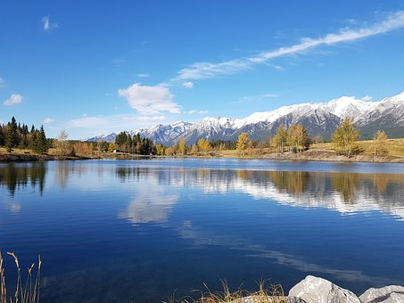 Mountains, Snow, Lake, Trees, Leaves, Foliage