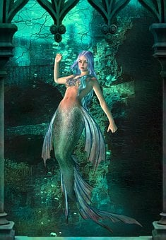 Siren, Mermaid, Sea, Ruins, Creature, Underwater