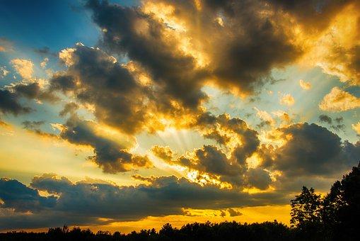 Sunset, Clouds, Golden, Sky, Nature, Evening, Mohan