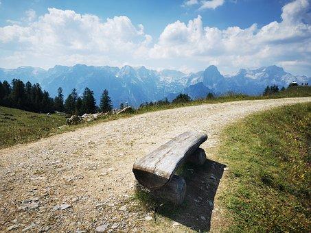 Bank, Bench, Trail, Mountains, Nature, Landscape