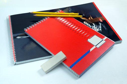 Pencils, Notebook, Block, Eraser, Stack, Spiral, Paper