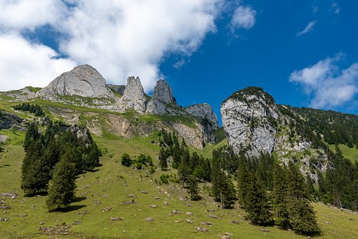 Mountains, Trees, Forest, Clouds, Rock, Mountain Peak