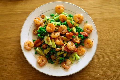 Prawns, Salad, Seafood, Food, Shrimp, Prawn, Healthy