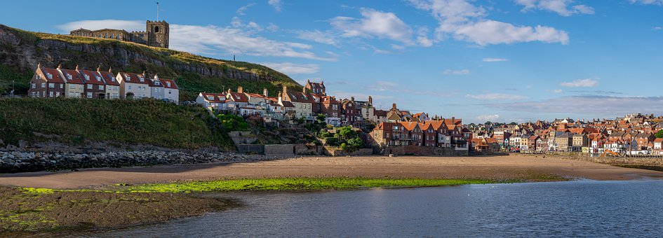 Church, Cliffs, Cottages, Seaside, Beach, Town, Bay