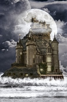 House, Castle, Tower, Stone, Rock, Sea, Storm, Night