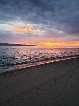 Beach, Sunset, Sunrise, Sand, Waves, View, Island