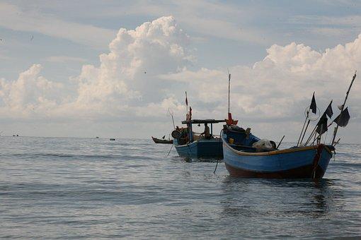 Ship, Boat, Fishing, Waves, Horizon, Travel, Shore