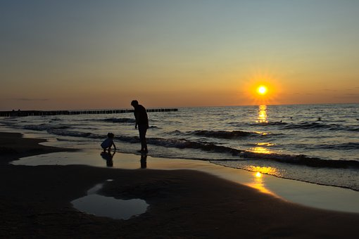Sea, Beach, Family, Child, Mother, Sunset, Sand