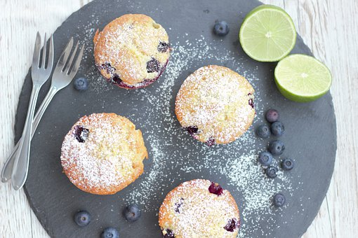 Cupcakes, Muffins, Cake, Berries, Blueberries, Lime