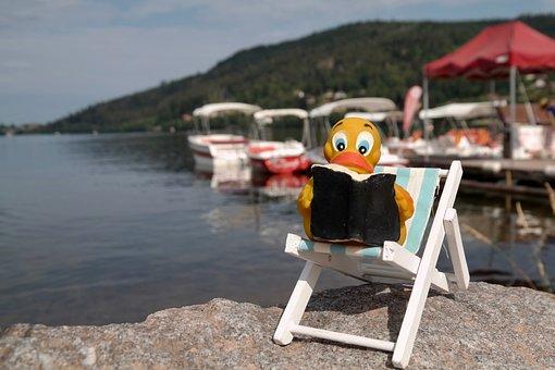 Duck, Read, Deck Chair, Quietscheente, Book, Water