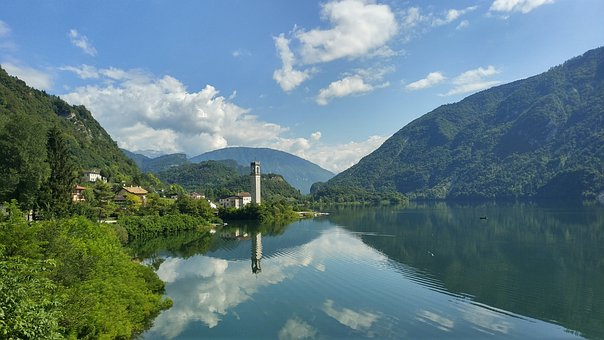 Lake, Mountain, Nature, Landscape, Town, Tower