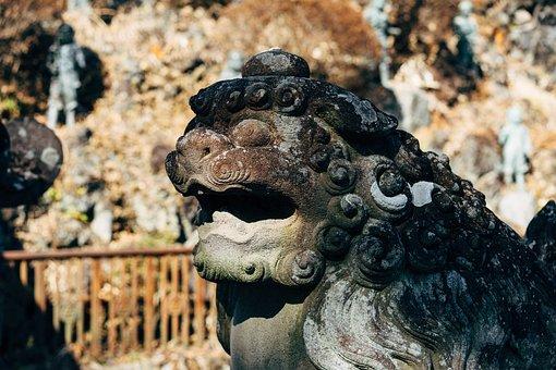 Shrine, Shinto, Mount Takao, Lion, Statue, Sculpture