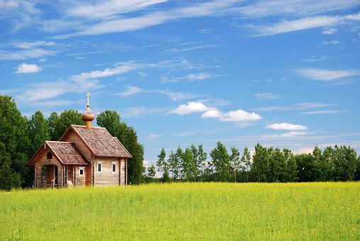 Church, Building, Cross, Meadow, Field, Landscape