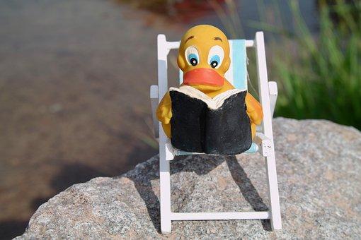 Read, Duck, Deck Chair, Quietscheente, Book, Water