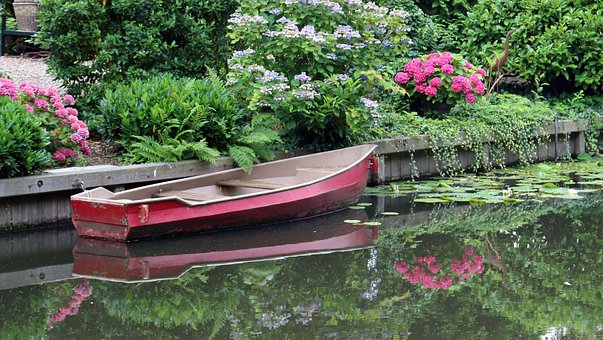 Boat, River, Flowers, Plants, Reflections, Rowing Boat